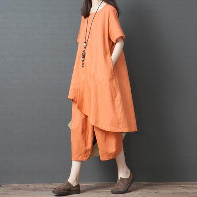 French orange clothes For Women plus size Cotton Linen Solid Loose Irregular Blouse And Pants