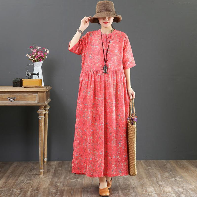 French orange print linen clothes For Women Pakistani Catwalk o neck baggy Maxi Summer Dress