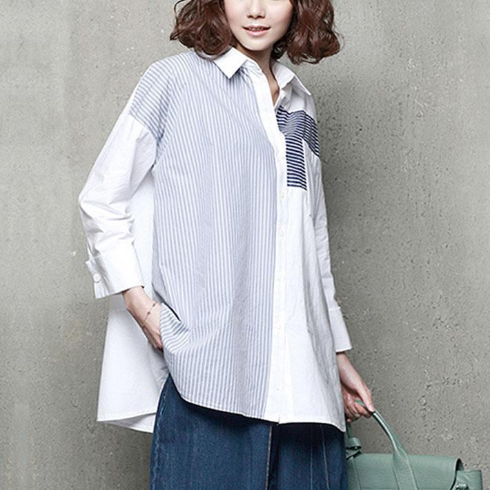 French patchwork cotton striped shirts women Tutorials light blue shirts