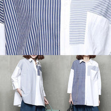 Load image into Gallery viewer, French patchwork cotton striped shirts women Tutorials light blue shirts