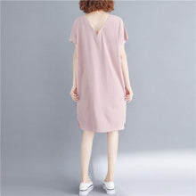 Laden Sie das Bild in den Galerie-Viewer, French pink Cotton dresses stylish Fabrics v neck back side open Art Dresses