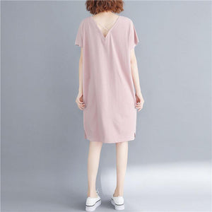 French pink Cotton dresses stylish Fabrics v neck back side open Art Dresses
