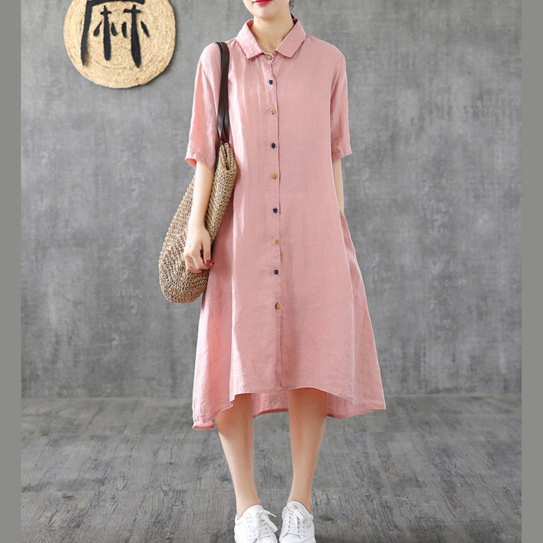 French pink linen dresses lapel Button Down cotton Dresses