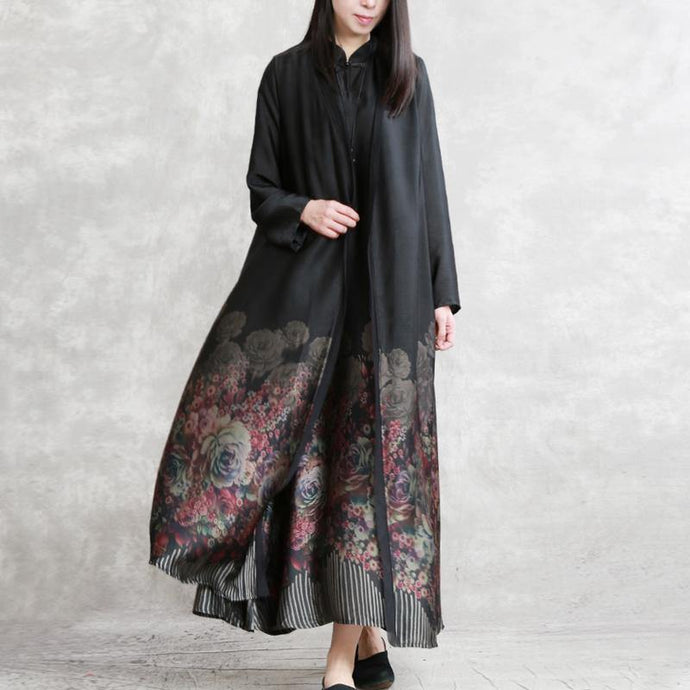French prints silk cardigan stylish Inspiration black cotton maxi coats patchwork