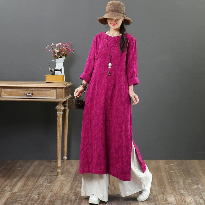 French purple linen quilting dresses o neck Jacquard cotton robes summer Dress