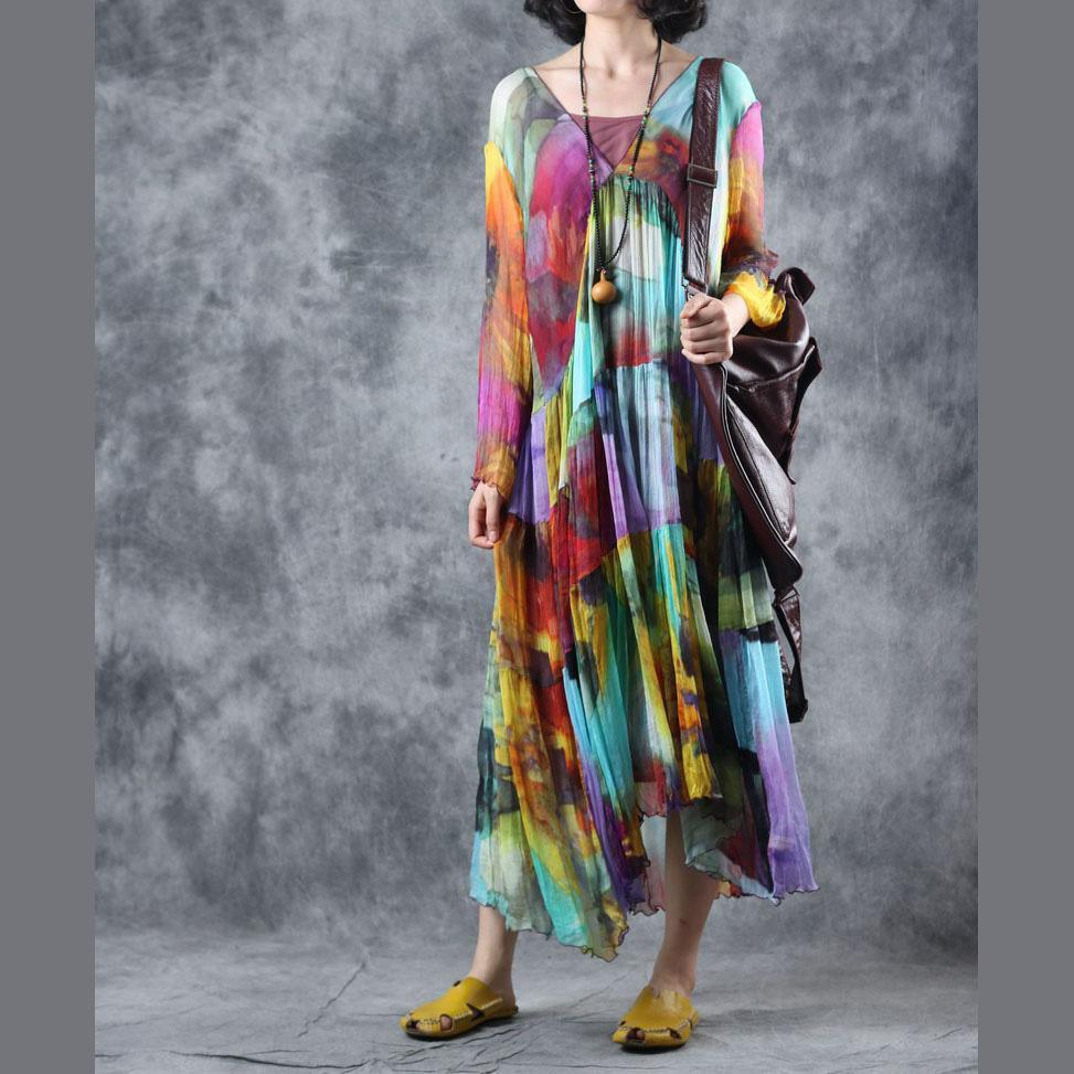 French rainbow Robes v neck wrinkled two pieces robes fall Dresses