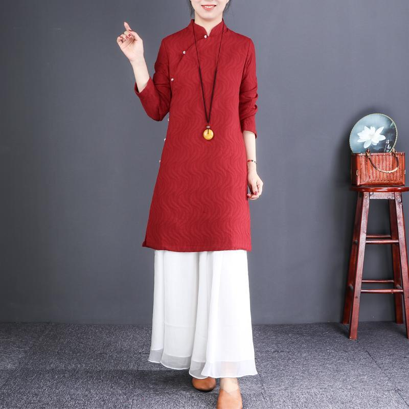 French red linen dresses Korea Inspiration stand collar Button Down tunic Dresses