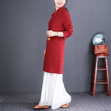 Laden Sie das Bild in den Galerie-Viewer, French red linen dresses Korea Inspiration stand collar Button Down tunic Dresses