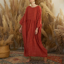 Load image into Gallery viewer, French red plaid cotton quilting dresses o neck patchwork long Dresses