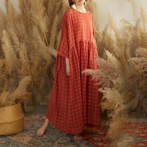 French red plaid cotton quilting dresses o neck patchwork long Dresses