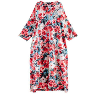 French red print dresses v neck baggy Dress