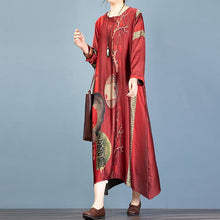 Load image into Gallery viewer, French red print quilting clothes asymmetric o neck A Line Dresses