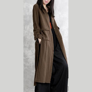 French side open cotton outwear Omychic Sleeve khaki coats spring