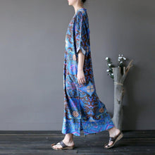 Load image into Gallery viewer, French side open linen v neck dress Tunic Tops blue prints Dresses