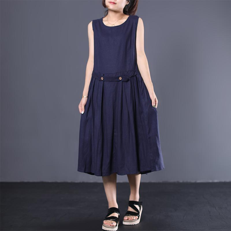 French sleeveless cotton Long Shirts Neckline navy Dress summer