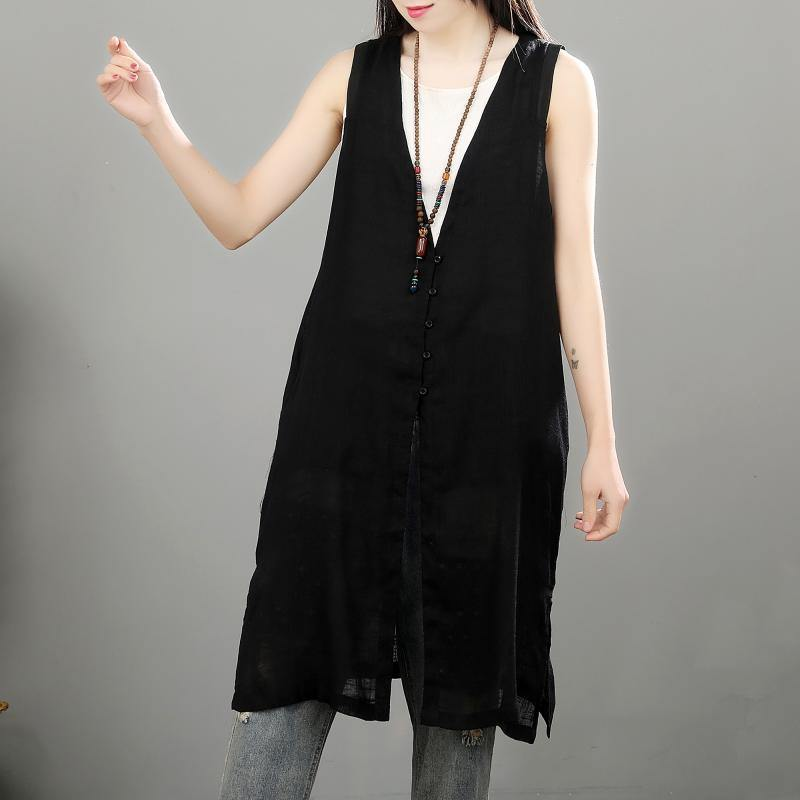 French sleeveless linen tunic top black tunic blouse summer