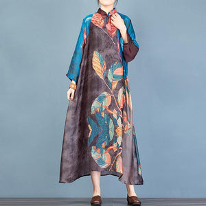 French stand collar asymmetric quilting dresses Fabrics blue print robes Dresses