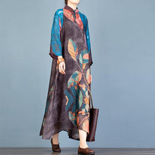 Load image into Gallery viewer, French stand collar asymmetric quilting dresses Fabrics blue print robes Dresses