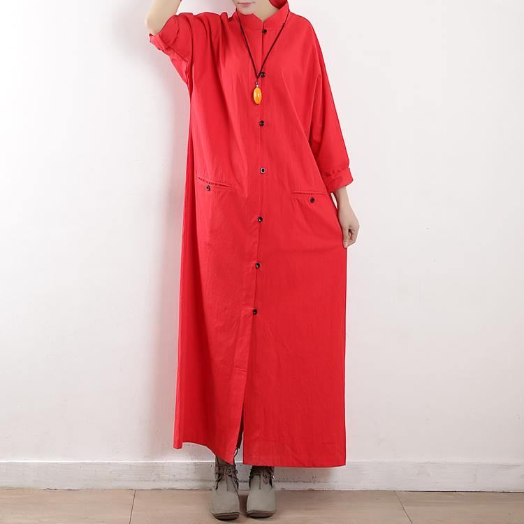 French stand collar cotton clothes Tutorials red long sleeve Maxi Dress fall
