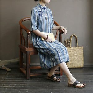 French stand collar cotton summer clothes Work Outfits blue striped cotton robes Dresses