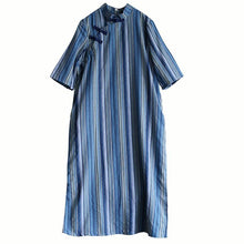 Load image into Gallery viewer, French stand collar cotton summer clothes Work Outfits blue striped cotton robes Dresses