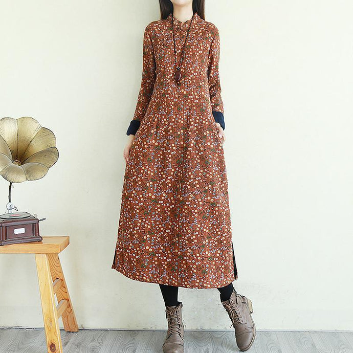 French stand collar linen Chinese Button clothes For Women Online Shopping brown prints Dresses