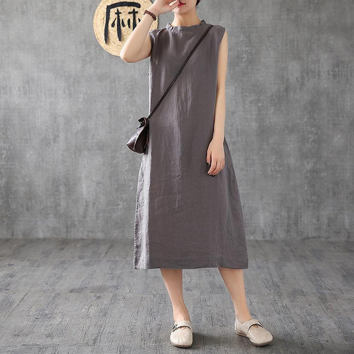 French stand collar sleeveless linen clothes For Women Wardrobes dark gray Dresses