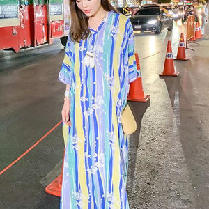 French v neck baggy summer Long Shirts Sewing striped long Dresses