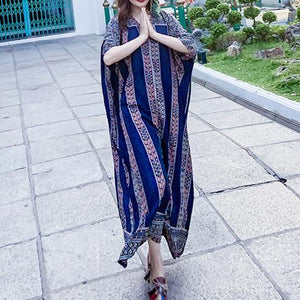 French v neck pockets clothes Photography blue striped Robe Dress