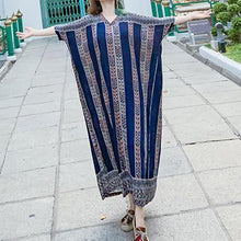Load image into Gallery viewer, French v neck pockets clothes Photography blue striped Robe Dress