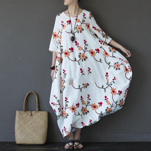 French white floral linen clothes For Women plus size Inspiration A Line asymmetric o neck pockets Dresses