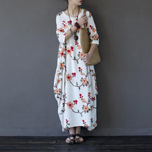 Laden Sie das Bild in den Galerie-Viewer, French white floral linen clothes For Women plus size Inspiration A Line asymmetric o neck pockets Dresses