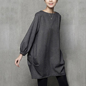 French wrinkled Cotton fallclothes Tutorials gray o neck Dresses