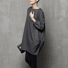 Load image into Gallery viewer, French wrinkled Cotton fallclothes Tutorials gray o neck Dresses