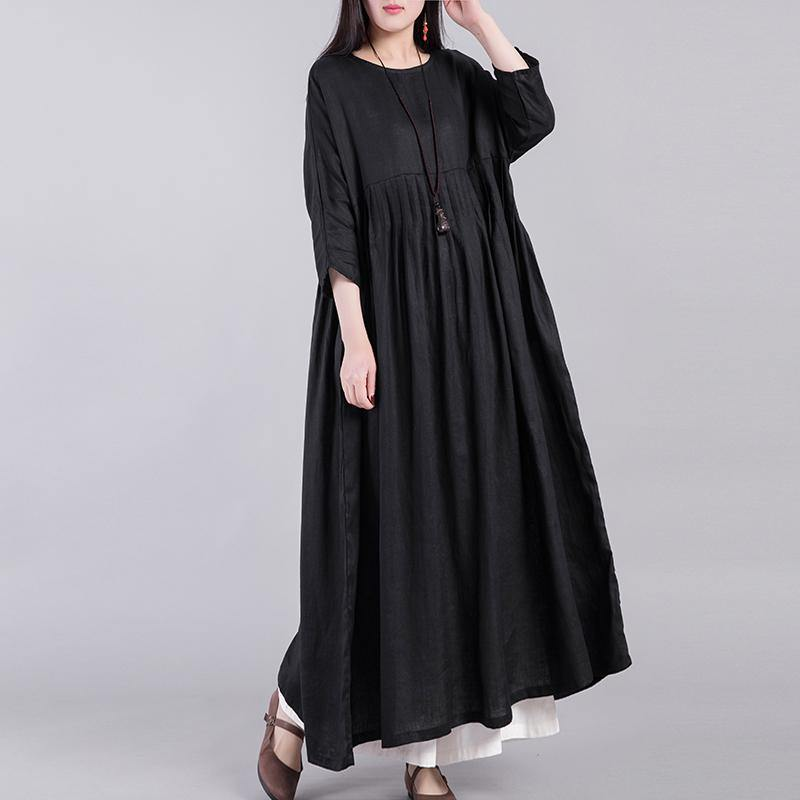 French wrinkled linen clothes Neckline black Dresses autumn