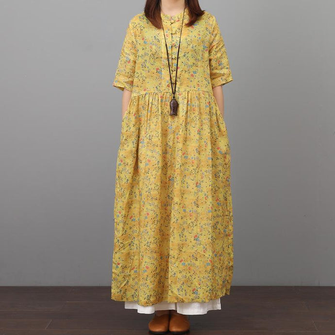 French wrinkled linen dress Online Shopping yellow prints Dress summer