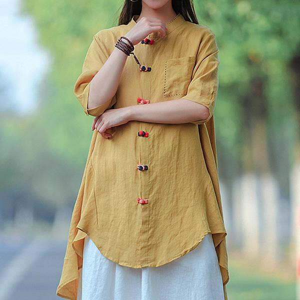 French yellow blouses for women boutique Vintage Summer Cotton Solid Frog Buttons Long Shirt