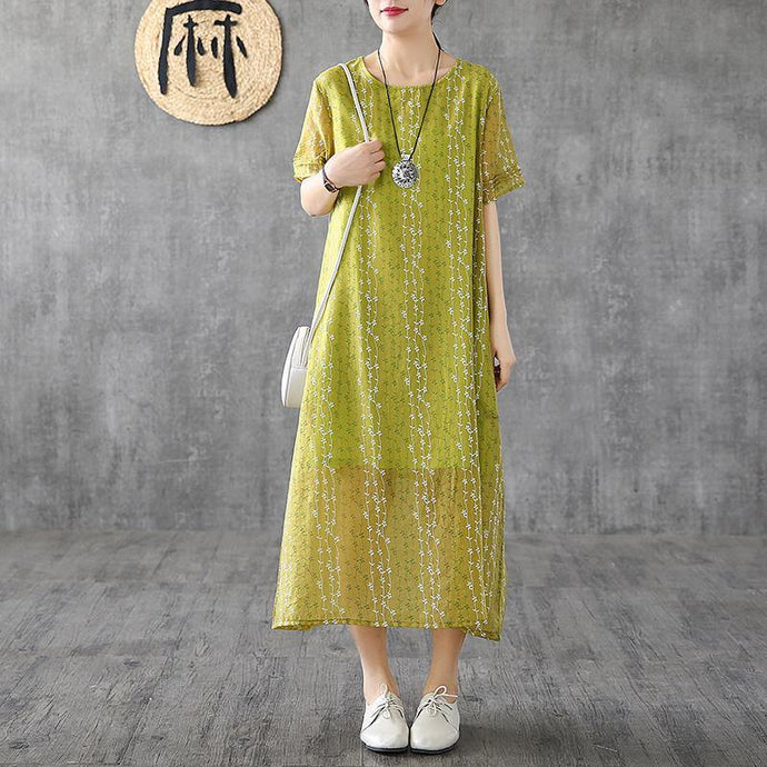 French yellow print linen Robes o neck short sleeve Plus Size Dress