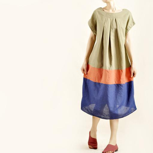 Fresh color patch maxi dress linen cotton oversize sundress
