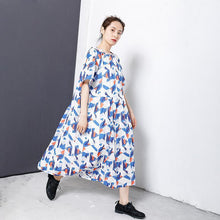 Load image into Gallery viewer, Geometric Print Adjustable Collar Midi Dress