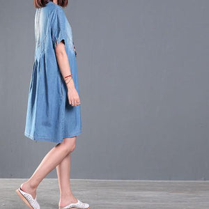 Gradient blue denim sundress short sleeve plus size summer denim dresses