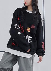 Graffiti sweater women 2020 fall new loose black lazy long-sleeved T-shirt