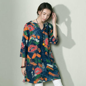 Graffiti print denim dress cotton sundress oversize
