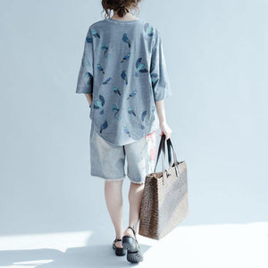 Gray bird print oversize summer shirt plus size casual tops blouses