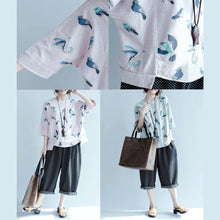 Laden Sie das Bild in den Galerie-Viewer, Gray bird print oversize summer shirt plus size casual tops blouses