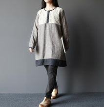 Laden Sie das Bild in den Galerie-Viewer, Gray breathy heart warm cotton shift dresses long sleeve linen blouse