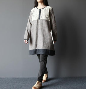 Gray breathy heart warm cotton shift dresses long sleeve linen blouse