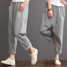 Load image into Gallery viewer, Gray casual pants women cotton crop pants