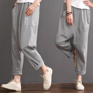 Gray casual pants women cotton crop pants