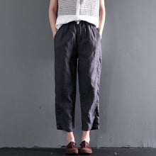 Laden Sie das Bild in den Galerie-Viewer, Gray causal linen summer pants oversize